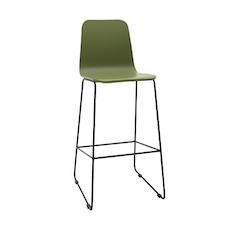 Ava High Back Bar Chair - Green Lacquered, Matt Black