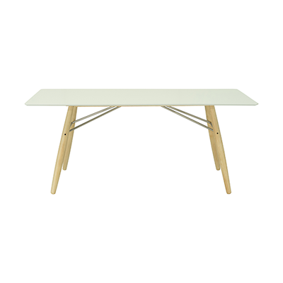 Ferrol Rectangular 8 Seater Table - White Lacquered, Oak