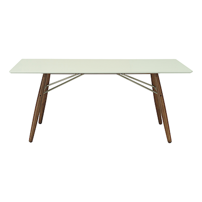 Ferrol Rectangular 8 Seater Table - White Lacquered, Walnut - Image 1