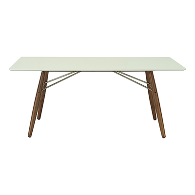 Ferrol Rectangular 8 Seater Table - White Lacquered, Walnut