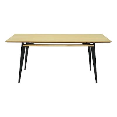 Grover 8 Seater Table - Oak Veneer, Matt Black