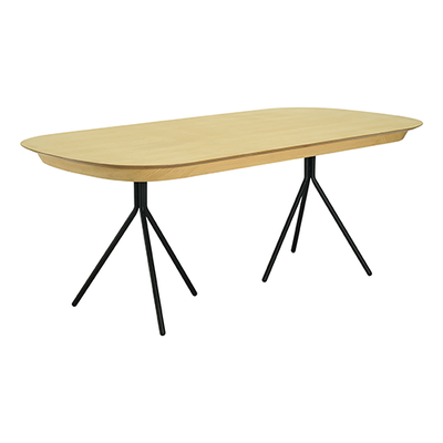 Otto Dining Table 2m - Oak Veneer, Matt Black - Image 1