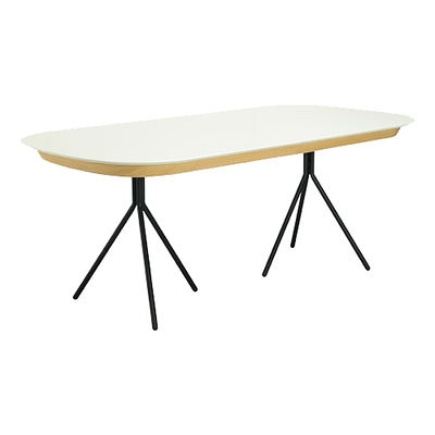 Otto Dining Table 2m - White Lacquered, Matt Black - Image 1