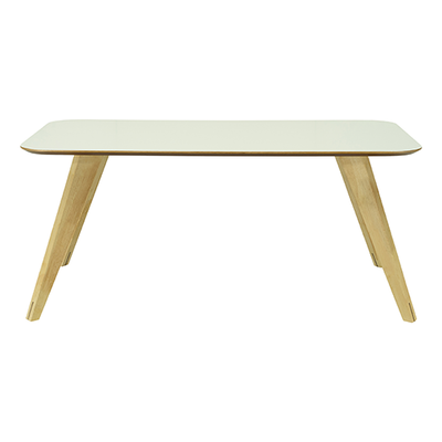 (As-is) Ryder Dining Table 1.8m - White Lacquered, Oak - 1 - Image 1