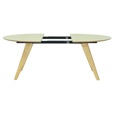 Ryder Extendable Dining Table 1.5m - Dust Green Lacquered, Oak - Image 2