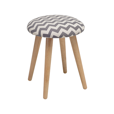 Poppy Stool - Natural, Chevron Grey - Image 1