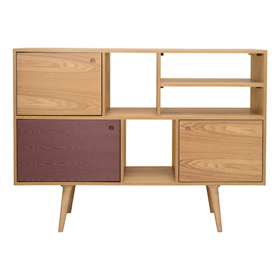 (As-is) Locke Tall Sideboard 1.4m - Natural, Penny Brown - 1 - Image 1