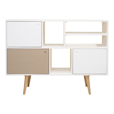 Locke Tall Sideboard - Natural, White, Taupe Grey