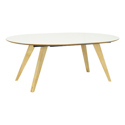 Ryder Oval 8 Seater Extendable Table - White Lacquered, Oak - Image 1