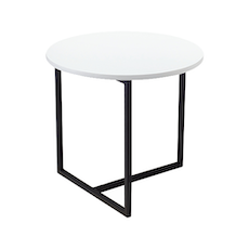 Santorini Round Side Table - White, Matt Black