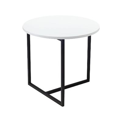 Felicity Round Side Table - White, Matt Black