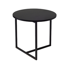 Santorini Round Side Table - Black Ash, Matt Black