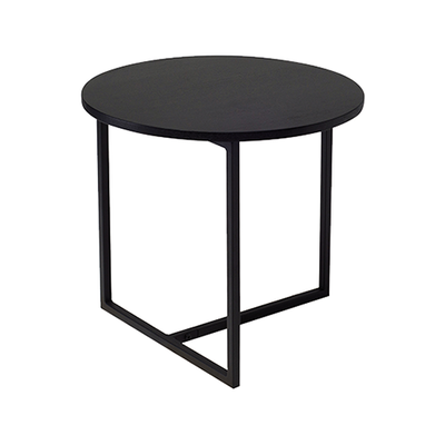 Felicity Round Side Table - Black Ash, Matt Black