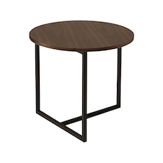 Santorini Round Side Table - Walnut, Matt Black