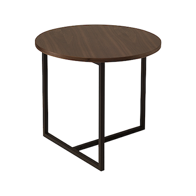 Felicity Round Side Table - Walnut, Matt Black