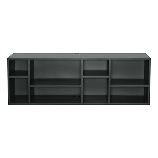 Liam Media Rack 1.2m in Charcoal Grey with Innis Coffee Table in Black - 6