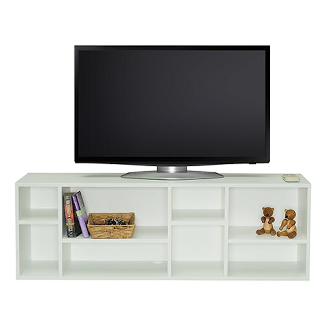 Liam Media Rack 1.2m in Charcoal Grey with Innis Coffee Table in Black - 7