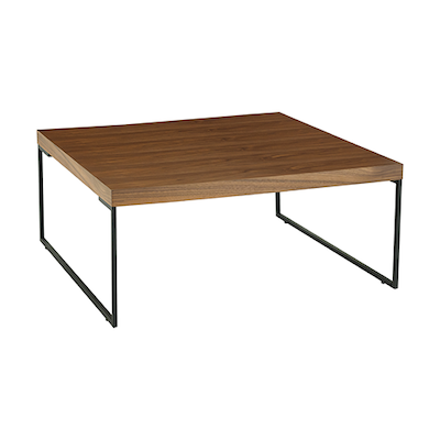 Myron Square Coffee Table - Walnut, Matt Black