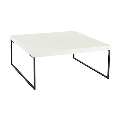 Myron Square Coffee Table - White, Matt Black - Image 1