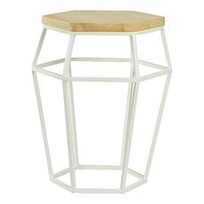 Sydney Stool/Occasional Table - Matt White, Oak
