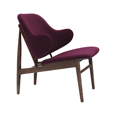 (As-is) Veronic Lounge Chair - Ruby, Walnut - 1 - Image 1