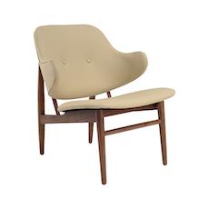 Veronic Lounge Chair in Premium Vinyl - Cream, Walnut