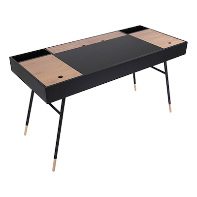 (As-is) Morse Study Table - Black Ash, Oak - 2 - Image 1