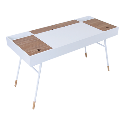 (As-is) Morse Study Table - White, Oak - 3 - Image 1