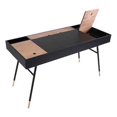 (As-is) Morse Study Table - Black Ash, Oak - 2 - Image 2