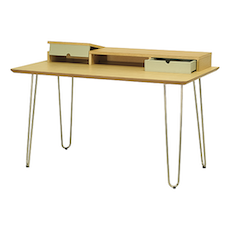 Ingram Study Table - Black Ash, White
