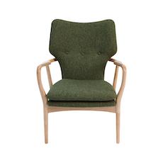 Uta Lounge Chair in Premium Vinyl - Cream, Oak