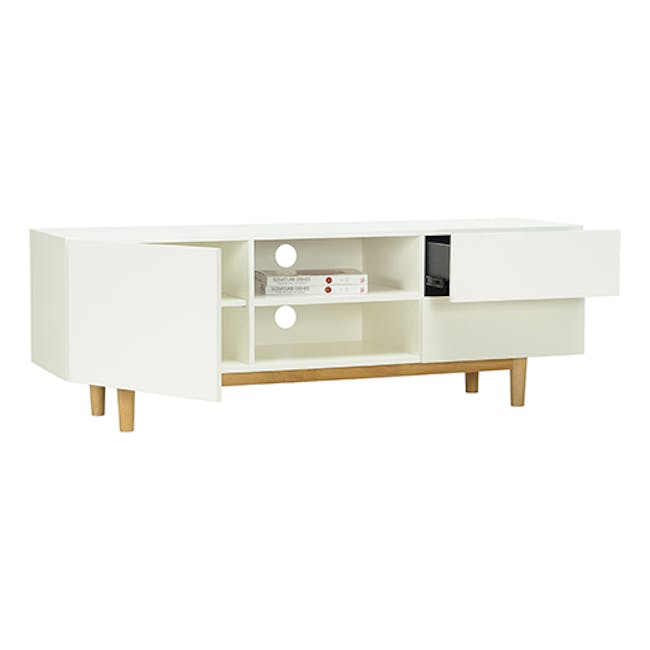 Aalto TV Cabinet 1.6m - White, Natural - 3