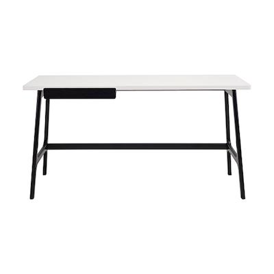Morey Working Desk - Black, White, Black Ash