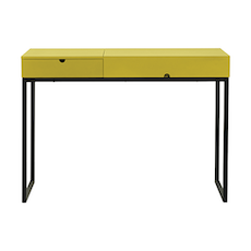 Hermes Working Desk - Matt Black, Olive Yellow