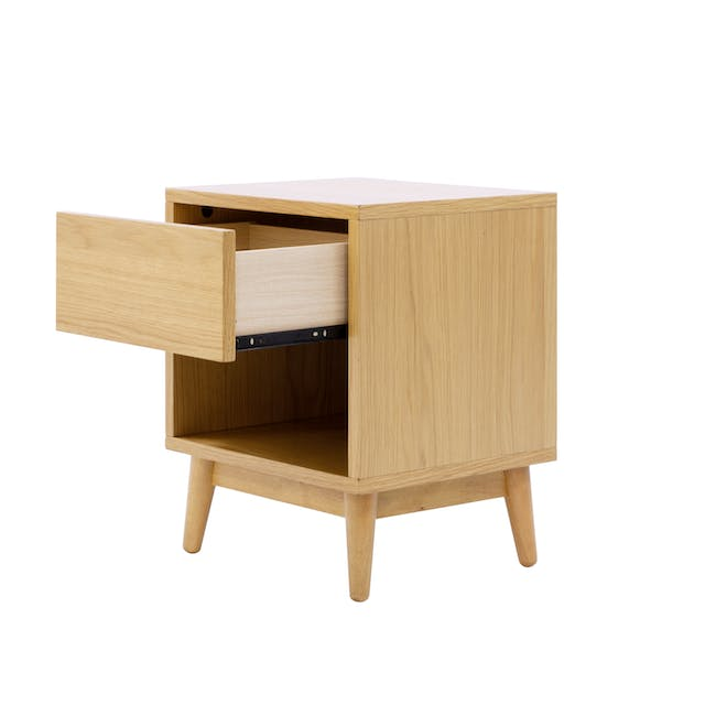 Audrey King Storage Bed in Silver Fox with 2 Kyoto Top Drawer Bedside Tables in Oak - 14