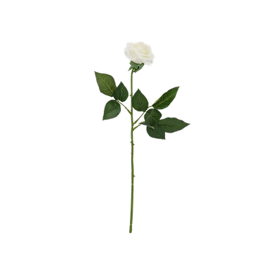 Faux Rose Stem - White - Image 1