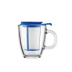 YO-YO Mug and Plastic Tea Strainer, 0.35L/12oz - Electric Blue