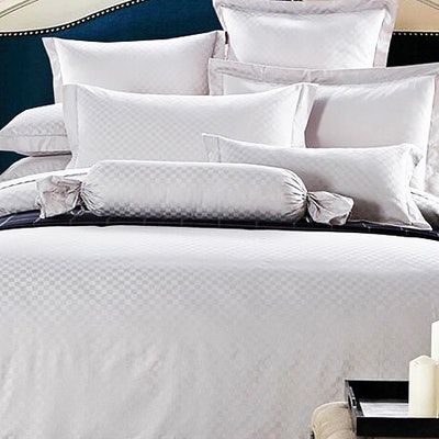 (Single) Jacquard Checkered 4-Pc Bedding Set - Pure White - Image 1
