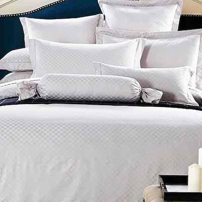 Jacquard Checkered Bedding Set - Pure White (King)