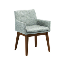 Berlin Dining Chair w/ Armrests - Cocoa, Pebble