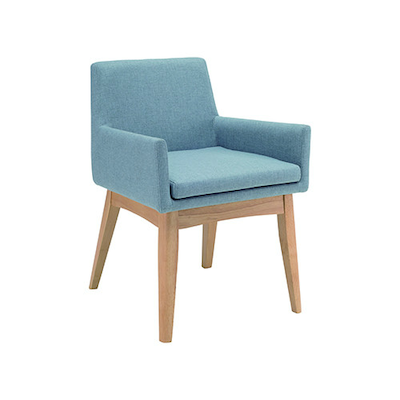 Fabian Dining Chair with Armrests - Natural, Aquamarine - Image 1