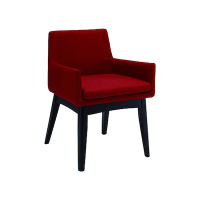 Fabian Dining Chair w/ Armrests - Black, Crimson - Image 1