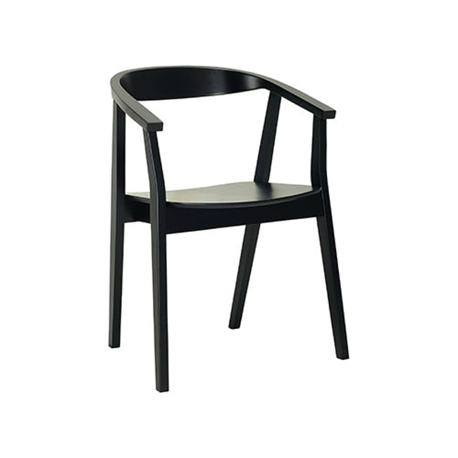 Tyrus Dining Table 2m with 4 Greta Chairs in Black and Natural - 4