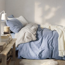 Soft Washed Cotton Bedding Set - Dusk Blue
