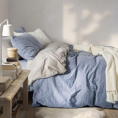 (King) Soft Washed Cotton Bedding Set - Dusk Blue - Image 1