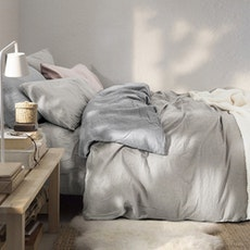 Soft Washed Cotton Bedding Set - Khaki Grey