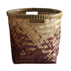 Village Bamboo Basket - Natural, Black