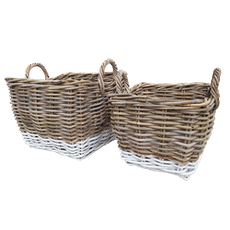 Village Basket II - Grey, White