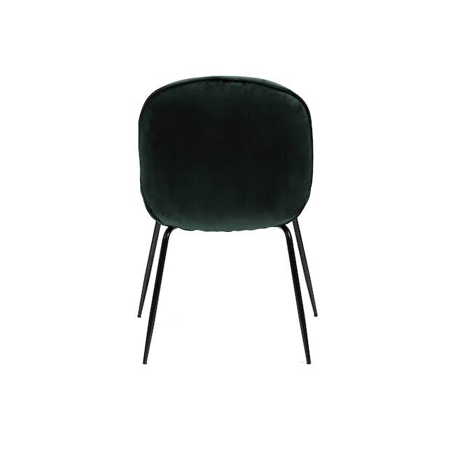 Lennon Dining Chair - Black, Pine Green (Velvet) - 3