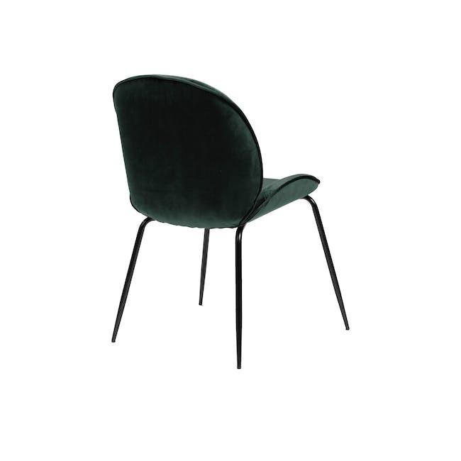 Lennon Dining Chair - Black, Pine Green (Velvet) - 5
